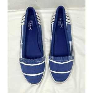Coach Blue White Striped Slip On Sneakers